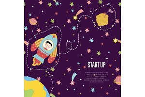 Start up Space Cartoon Vector Web Page Template