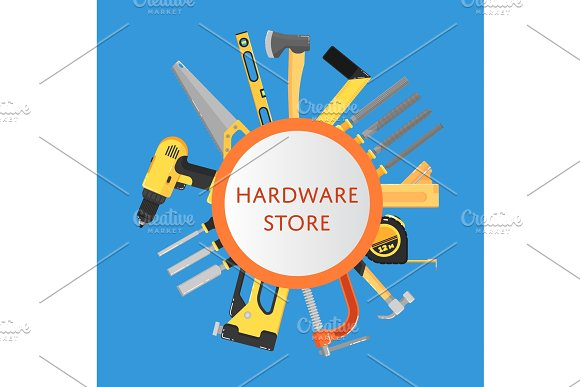 Hardware store banner with building tools