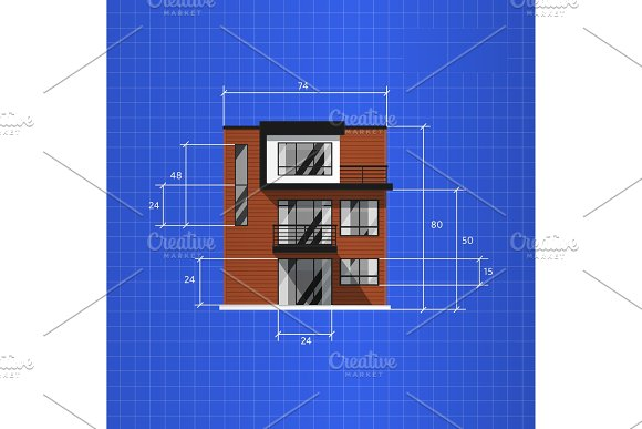 Architectural plan isolated on blue background