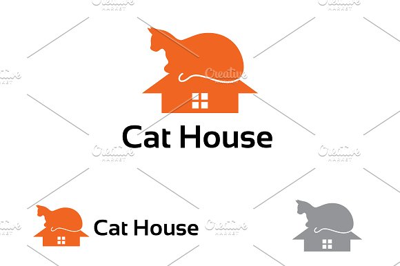 Cat House Care Sign Symbol Logo Templates Creative Market