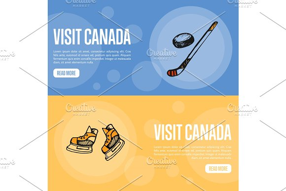 Visit Canada Touristic Vector Web Banners