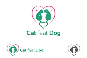 Dog and Cat Care Love Logo Symbol