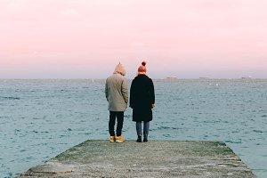 Couple on the sea shore
