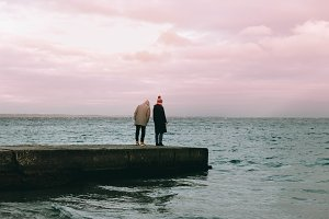 Couple on the seaside in winter