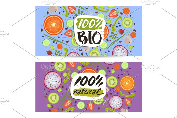 Bio food horizontal flyers set