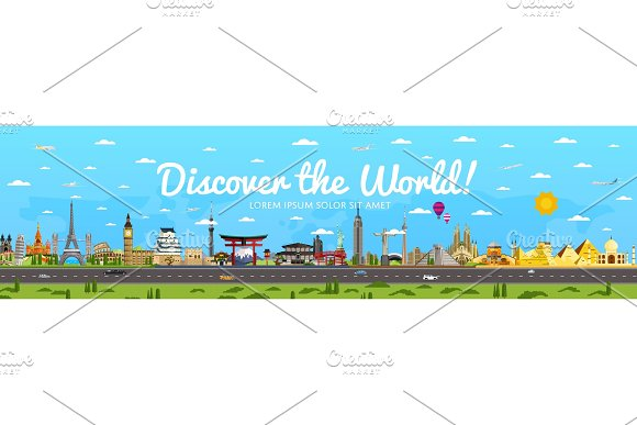 Discover the World poster with famous attractions