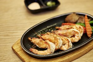 Japanese seafood. Fried spicy shrimp