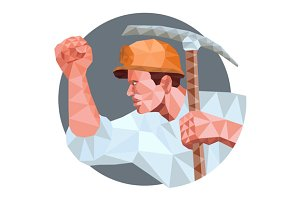 Coal Miner Pick Axe Fist Low Polygon