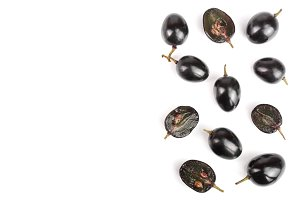 Dark grapes isolated on white background with copy space for your text, top view. Flat lay
