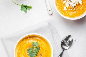 Pumpkin soup with parsley and feta