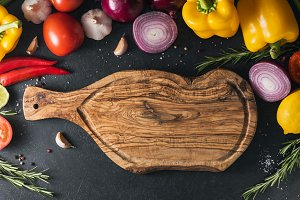 Top view of the rustic cutting board