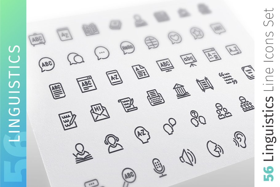 Linguistics Line Icons Set