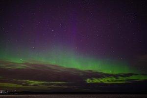 Northern lights over lake onega. Karelia