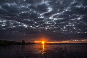 Sunset on the Onega Lake. Petrozavodsk. Karelia