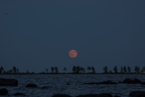 The rising of the bloody moon over Lake Onega