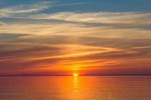 Bright dawn over Lake Onega