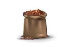 Coffee beans in brown burlap bag.