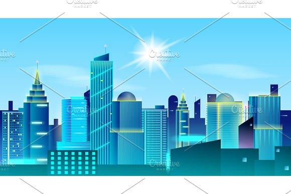 Big city landscape background. Sunny day in metropolis. Real Estate design concept.