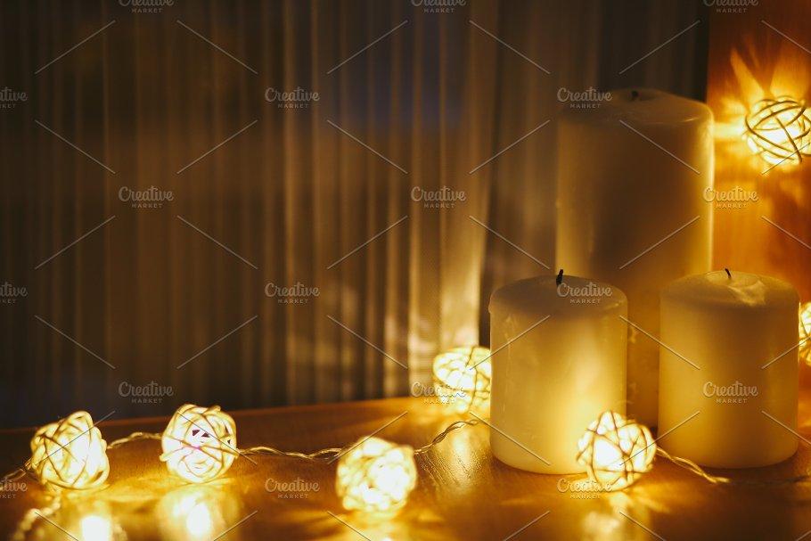 christmas lights and candles holidays