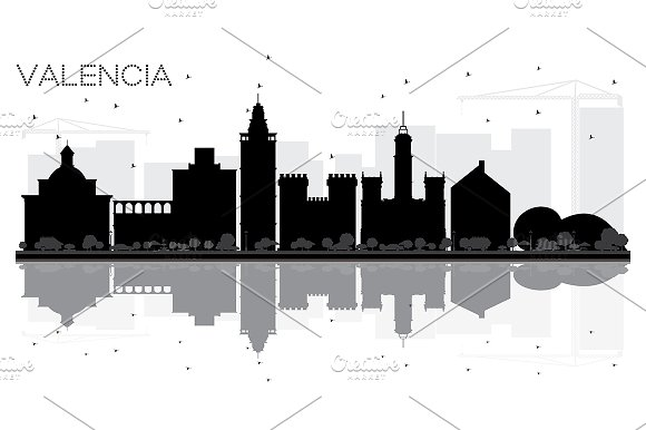 Valencia Spain City skyline