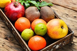 fruit in a wooden box