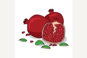 Isolate ripe pomegranate fruit