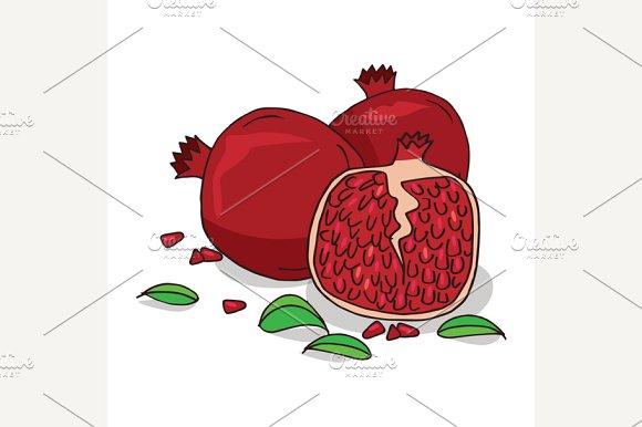 Isolate ripe pomegranate fruit in Illustrations