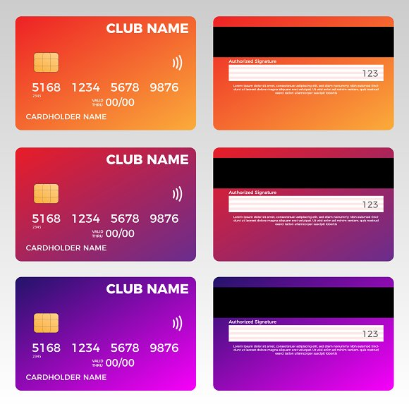 credit card vector template card templates creative market