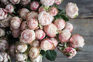 Bouquet of pink roses on old wood
