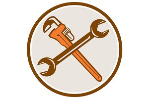 Spanner Monkey Wrench Crossed Circle