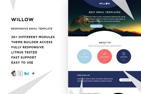 Willow Email Template Builder Email Templates Creative Market - Litmus free email templates