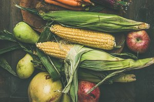 Autumn healthy ingredients for Thanksgiving day dinner preparation, flat-lay