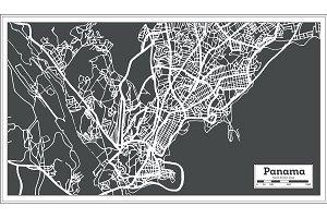 Panama City Map in Retro Style.