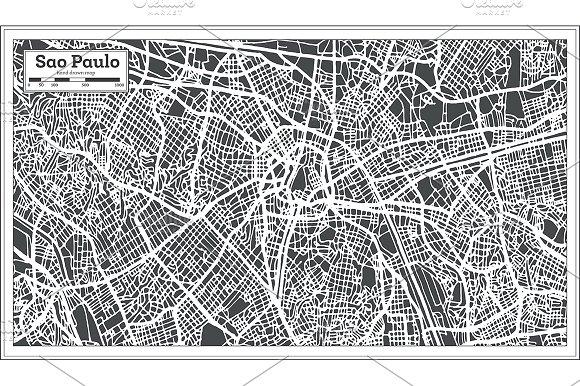 Sao Paulo Brazil City Map in Retro