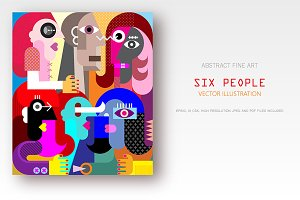 Six People vector illustration