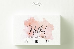 Hello Watercolour Business Card