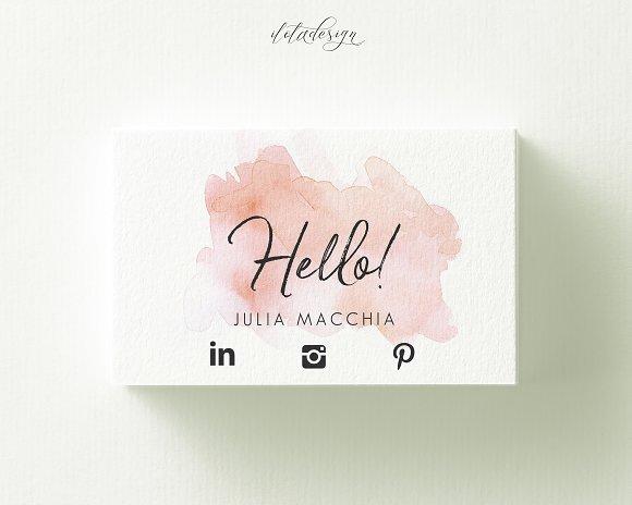 Hello Watercolour Business Card