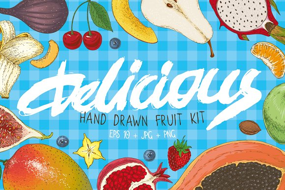 Delicious Hand Drawn Fruit Kit