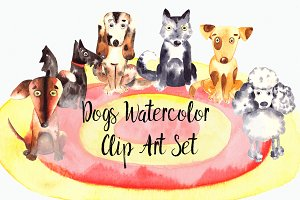 Watercolor Dogs Clip Art Set