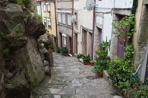 Narrow Alley in Old Town of Porto