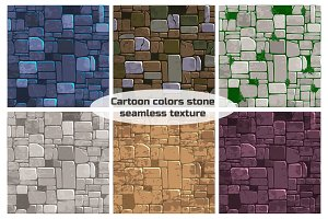 Seamless background texture different color stone wall. Vector illustration For Ui Game element