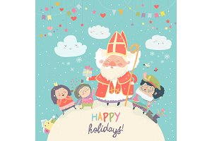 Saint Nicholas with Piet and happy kids