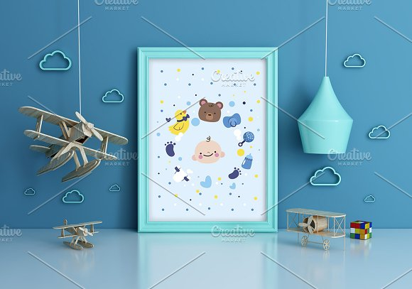 Nursery Frame Mockup - Airplane kids
