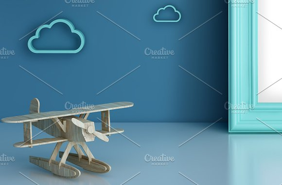 Set of 3 mockup Room airplane kids in Product Mockups - product preview 4