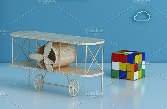 Set of 3 mockup Room airplane kids in Product Mockups - product preview 5