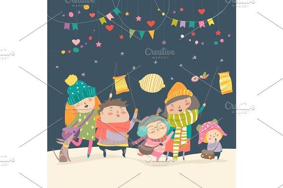 Happy kids celebrating Saint Martins day in Illustrations