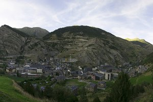 Panoramic of the village of Canillo