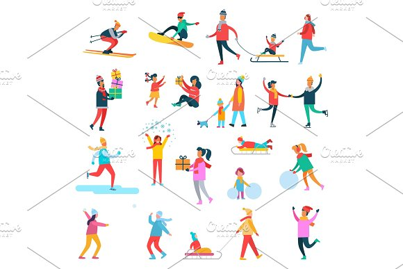 Winter Activities Collection Vector Illustration