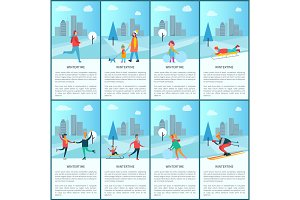Wintertime Collection and Text Vector Illustration