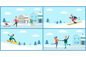 Winter Sport and Activities Vector Illustration
